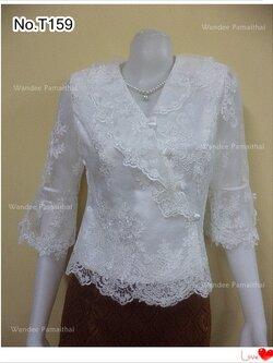 เสื้อลูกไม้อิตตาลี กระดุมป้ายข้าง แขน3ส่วน สีขาวออฟไวท์ บอร์ XL