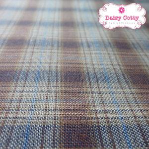 ผ้าทอญี่ปุ่น 1/4ม.(50x55ซม.) ลายตารางสีน้ำตาลตัดเส้นสีฟ้า