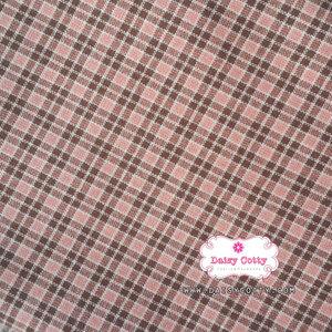 ผ้าทอญี่ปุ่น 1/4ม.(50x55ซม.) ลายตารางสีชมพูตัดเส้นสีเทาดำ