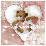กระดาษสาพิมพ์ลาย สำหรับทำงาน เดคูพาจ Decoupage แนวภาพ Be my Valentine น้องหมีในวงล้อมหัวใจถือหัวใจให้คุณ A5