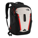 The North Face - New Surge Backpack (สีเทาขาว / ซิปแดง) Black/Fiery Red