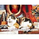 กระดาษสาพิมพ์ลาย สำหรับทำงาน เดคูพาจ Decoupage แนวภาำพ แมวน้อยของนักดนตรี นอนบนเปียโนข้างๆเครื่องดนตรีเตรียมตัวฟังเพลง Cats A5