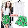 ✦ (สินค้าพร้อมส่งค่ะ) ชุดแฟชั่นเซ็ทเกาหลี เสื้อคอปกลูกไม้ แขนกุด ดีไซด์หวาน+กระโปรงพิมพ์ลายเนื้อดี – สีขาว+เขียว (Size: L,XL)