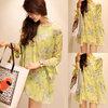 ✦ Partysu (สินค้าพร้อมส่งค่ะ) เสื้อแฟชั่นเกาหลี คอกลม แขนห้าส่วน ผ้าชีฟองพิมพ์ลายดอกไม้แสนหวาน แต่งผูกปลายแขน+สายเดี่ยวตัวยาว 1 ตัว – สีเขียว (Size: L)