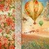 แนวภาพทิวทัศน์ ภาพวิวบอลลูนกับขอบภาพลายแต่งดอกกุหลาบสีส้ม เป็นภาพแนวตั้ง 4 บล๊อค กระดาษแนพกิ้นสำหรับทำงาน เดคูพาจ Decoupage Paper Napkins ขนาด 33X33cm