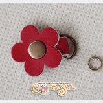 ตัวห้อยซิปดอกไม้หนังแท้ สีแดง (ขนาด 2.7x3.5ซม)