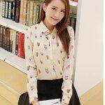 เสื้อเชิ้ตสไตล์เกาหลี พิมพ์ลายนกฮูกเก๋ๆ เนื้อผ้าดีสวมใส่สะบาย
