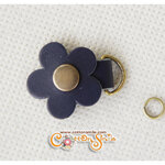 ตัวห้อยซิปดอกไม้หนังแท้ สีน้ำเงิน (ขนาด 2.7x3.5ซม)