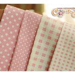 ผ้าจัดเซ็ตลายจุด ลายตารางสีชมพู ราคาพิเศษ (ขนาด 40 x 70 ซม. จำนวน 4 ผืน)