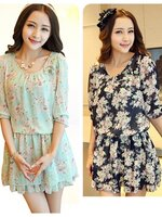 Mini เดรสผ้าชีฟองสไตล์เกาหลี ผ้าพิมพ์ลายน่ารักๆ เอวจั้มยืดหยุ่น มี 2 สี เขียว/ดำ