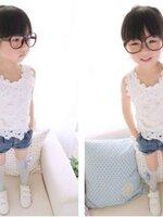 ชุดเซ็ทเด็กสไตล์เกาหลี เสื้อลูกไม้+กางเกงยีนส์ แบบเก๋ น่ารัก ผ้า เนื้อนุ่ม ใส่สบาย