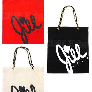 ## สินค้าหมดชั่วคราว ## Authentic!! JILL STUARD CAFE' Chain BAG กระเป๋าสะพายพิมพ์ลาย Jill Cafe' สายโซ่รมดำ มี 3 สี (สีดำ สีขาว สีแดง) เซ็กซี่ เย้ายวน สะกดทุกสายตา