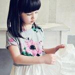แฟชั่นเด็ก เดรสกระโปรงเด็กหญิง Phelfish เสื้อสีเทา