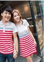 ชุดคูรักแฟชั่น เสื้อคอปกและ เดรสกระโปรง ลายขาวแดง