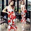 Vintage Rose Print Shoulder Dress