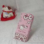 เคส iphone5 Kitty คิตตี้ ลายหัวใจ สีชมพู แบบฝาพับ