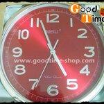 นาฬิกาแขวนผนัง หน้าปัดแดง ขอบสีเงิน