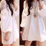 เสื้อคลุมท้อง สีขาว แขนยาว แต่งคอด้วยลูกไม้ถัก น่ารักสุดๆจร้า