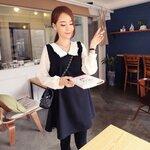 เสื้อคลุมท้อง สีดำ แขนยาวสีขาวและปกคอขาวประดับผ้าลูกไม้ น่ารักสุดๆค่ะ