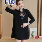 เสื้อคลุมท้องแฟชั่น เป็นผ้าโพลีเอสเตอร์ คอปก แขนยาว สไตล์เกาหลี ไซร์XXL