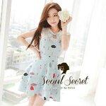 Mint Blue Pastel Dress Heart Lip Gem Pattern Print by Seoul Secret