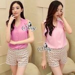 Sevy Two Pieces Of Summer Hot Vacation Chiffon Sleeveless Top With Low Waist Short Pants Sets Pink