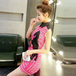 เดรสสีชมพูจีนลายม้า งานคัตติ้ง [ขายส่ง500.-*]