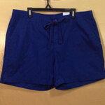 เอว39-43 แบรนด์ jcp กางเกงคนอ้วน ขาสั้นผ้าคอตต้อนไม่ยืด มีเชือกช่วยรัดเอว สีน้ำเงินอมฟ้า