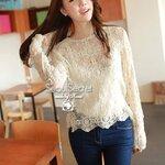 Korea Nifty Cream Long Sleeve Blouse by Seoul Secret