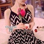 Cliona Made, Serration Stripe line Maxi Dress