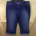 เอว40-46 แบรนด์ JENNIFER ROPEZ กางเกงคนอ้วน ผ้ายีนส์ยืดสีน้ำเงินเย็บด้ายน้ำเงิน ขาสี่ส่วน