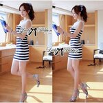 Lady Ribbon's Made Lady Maria Pin-Up Chic Striped Body Con Mini Dress