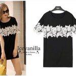 Lala white floral 3D lace strip black Dress