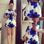 ชุดเซตลายดอกสีน้ำเงินผ้าซาติน [ขายส่ง360.-*]
