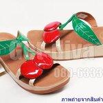 รองเท้า Fitflop ลายเชอรี่แบบสวม สีครีมเขียว (36-40)