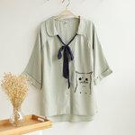 เสื้อผ้าฝ้ายผูกโบว์ญี่ปุ่น ลายแมว งานคัตติ้ง แบบเป๊ะ 100% [ขายส่ง600.-*]