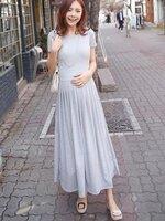 Dressกระโปรงผ้ายืดเนื้อนิ่ม สีเทาตัวยาว แขนสั้น จับจีบที่กระโปรงด้านหน้า ใส่สบายไม่ร้อนคะ