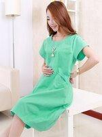 ชุดคลุมท้องสีเขียวผ้าฝ้าย กระเป๋าจกด้านหน้าน่ารักสไตย์เกาหลี ใส่สบาย ผ้าไม่บางค่ะ