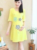 เสื้อคลุมท้องตัวยาว สีเหลือง ผ้าซีฟองค่ะ ผ้าเนื้อดีค่ะ คุณแม่สูงไม่เกิน 155 ใส่เป็นเดรสได้เลยนะค่ะ สีัสันสดใสค่ะ