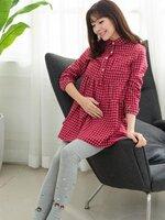 เสื้อคลุมท้องแฟชั่น สไตย์เชิ้ตคอบัว แขนยาว ลายสก๊อต สีแดง ทรงสวย น่ารักมากๆค่ะ ผ้าเนื้อนิ่มๆ ใส่สบายค่ะ