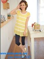เสื้อคลุมท้องแฟชั่นสำหรับคุณแม่ ผ้าซีฟอง สีเหลือง สีน่ารัก พร้อมเชือกผูกด้านหลัง