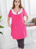 เสื้อเปิดให้นม ผ้ายืดสีชมพูบานเย็น ซิปแนวตั้ง 2 ข้าง พร้อมเชือกผูกด้านหลัง ผ้าเนื้อดีค่ะ