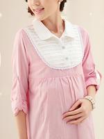 เสื้อเชิ้ตคอปกแขนยาว สีชมพู (มีซิปเปิดให้นม)  มีเชือกผูกด้านหลัง ใส่ทำงานน่ารักมากค่ะ