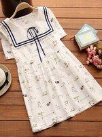 เสื้อคลุมท้อง/เดรสสั้น สีขาว คอกะลาสี ลายแมวเหมียว น่ารักมากๆค่ะ