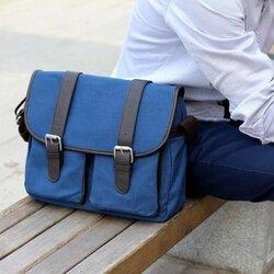 กระเป๋าผู้ชาย แฟช่ั่นเกาหลี สีน้ำเงิน ผ้าแคนวาสหนา ทนทาน