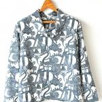 """Vintage Louis-Grey-Pattern Blouse (46"""")"""