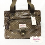 กระเป๋า 5 ซิปใบใหญ่ Chalita wu สีน้ำตาล ลายจุดเล็ก