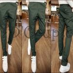 PRE-ORDER กางเกงขายาวแฟชั่นใหม่ กางเกงผ้าแฟชั่นเกาหลีบางสีเขียวขายาว เนื้อผ้าฝ้ายสวมใส่สบาย