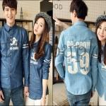 PRE-ORDER เสื้อเชิ้ตคู่รัก เกาหลีใหม่เนื้อผ้ายีนส์บางเชิ้ตแฟชั่นใหม่สีพื้น ญ/ช.เสื้อเชิ้ตแขนยาว