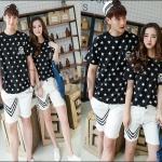 PRE-ORDER เสื้อยืดคู่รัก เกาหลีใหม่เนื้อผ้าฝ้ายยืดพิมพ์ลายดาวน่ารักๆ ญ/ช.เสื้อยืดแขนสั้น